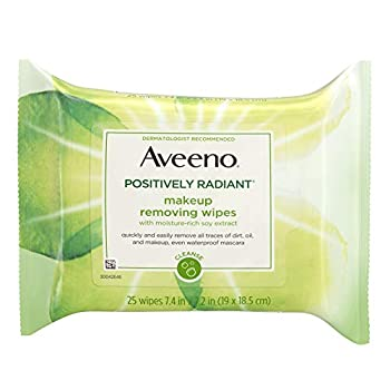 Aveeno Positively Radiant Oil-Free Makeup Removing Wipes to Help Even Skin Tone and Texture with Moisture-Rich Soy Extract 25 ct.