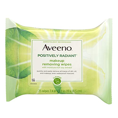 Aveeno Positively Radiant Oil-Free Makeup Removing Facial Cleansing Wipes to Help Even Skin Tone & Texture with Moisture-Rich Soy Extract, Gentle & Non-Comedogenic, 25 ct.