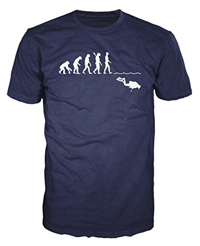 Scuba Diver Evolution Funny T-shirt (S, Navy Blue)
