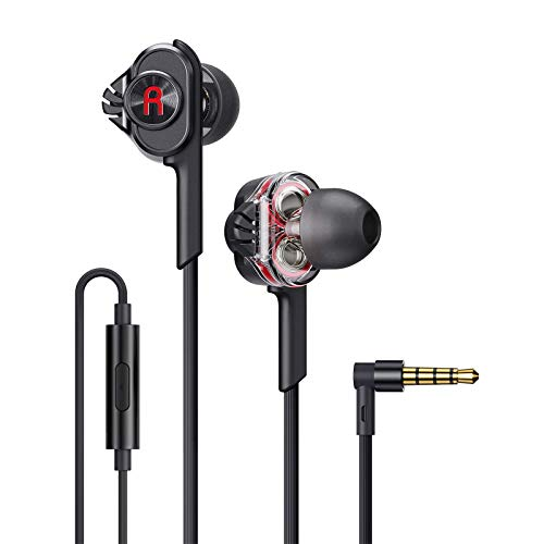 Linklike Quad Drivers Wired Earbuds Noise Isolating in-Ear Headphones with Microphone, 3.5mm Jack HiFi Stereo Sound Lightweight Earphones HD Calls Compatible with iPhone, Galaxy, iPod, Laptop, PC