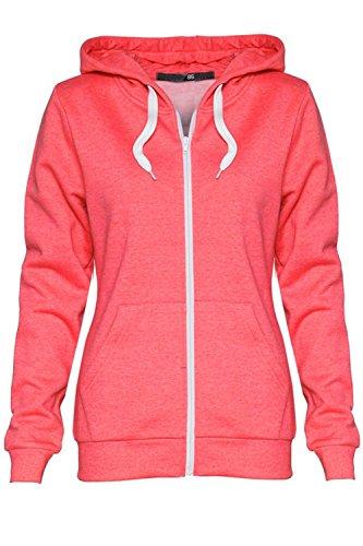 Oops Outlet Damenjacke mit Reißverschluss, einfarbig, Kapuzenpullover für Damen, Sweatshirt-Jacke, Größe 34 bis 52 Gr. XXL (42 ), korallenrot