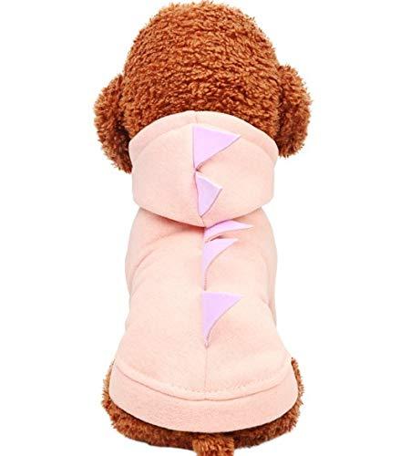 YAzNdom Haustierhundekleidung, Herbst und Winter Bequeme warme Kurze Jacke, rosafarbene Dinosaurier-mit Kapuze Strickjacke Arbeiten schöne Haustierkleidung um (Size : XL)