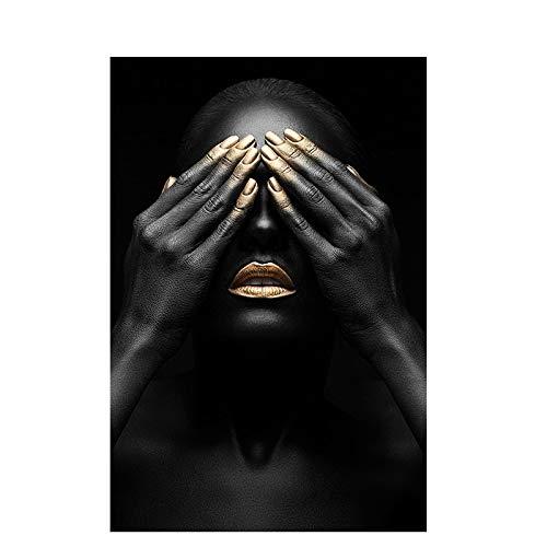 Mujer negra y mujer de labios dorados Pintura sobre lienzo Carteles e impresiones Cuadro de arte de pared africano para sala de estar Decoración del hogar 50x70 cm Sin marco