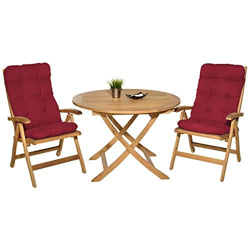 Pack 2 Cojines con Respaldo para Sillas de terraza. Conjunto de 2 Cojines para sillones de Interior y Exterior. Cojín para Silla con Respaldo, Cojines Acolchados, mecedoras terraza. (Rojo)