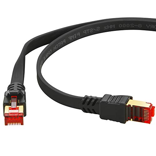 HUANGTAOLI Cable de Red Cat 8 Ethernet Network LAN 40Gbps 2000MHz Alta Velocidad S/FTP con Conector RJ45 (Negro, 15m)