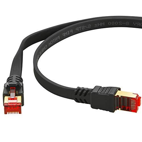 HUANGTAOLI Cat 8 Cavo Ethernet 10 Metri, Cat8 Cavo di Rete Patch Gigabit Lan SFTP con Connettori RJ45 Placcati in oro Alta Velocità 40 Gbps 2000MHz (Nero)