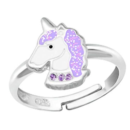 FIVE-D Kinderring Zehring Ring Einhorn Pferd Kristalle Grösse einstellbar 925 Silber im Schmucketui (Lila)