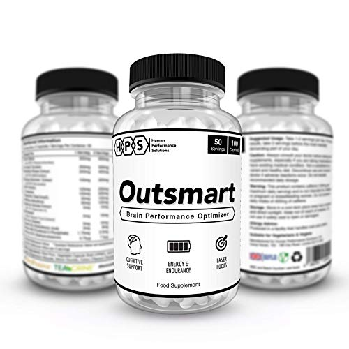 OUTSMART | Brain Performance Optimizer | Nootropic Brain Booster Supplement & Stimulants for Energy & Focus | 100 Vegan Capsules | Made in The UK