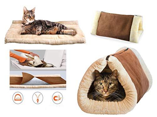 RHP 2 in 1 Haustier Tunnel Bett Matratze Matte Katze Hund Tragbar Warm Thermo Selbstheizend Plüsch Baumwolle Warm Haustier Schlafen Kissen Teppich für Kätzchen-Welpen Weich Bequem