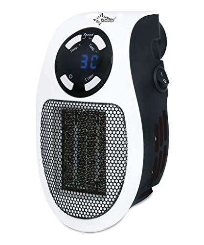 SUNTEC PTC-Heizlüfter Heat PTC 500 plug-in [Für Räume bis 30 m³ (~12,5 m²), direkt für die Steckdose, Temperaturwahl 15-30°C, 2 leise Ventilationsstufen, Timer, max. 500 W]