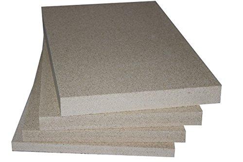 Vermiculite Schamotte Ersatz, 1 Platte 500 x 300 x 30 mm, Feuerraum Auskleidung