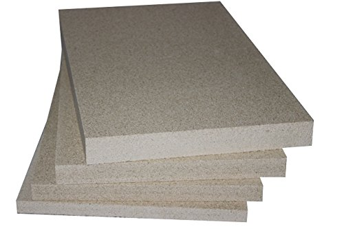Vermiculite Schamotte Ersatz, 4 Platten 500 x 300 x 30 mm, Feuerraum Auskleidung