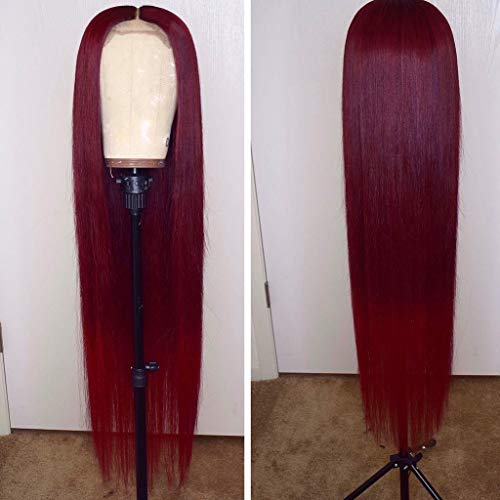 13x6 Burgundy Silk Straight Human Hair Wigs Glueless Lace Front Hair 150% Density Pre Plucked Hair for Black Women by Estelle Wig (18inch, 13x6 lace front wig)