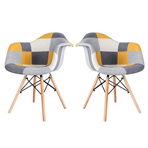 LOVEMYHOUSE Esszimmer Patchwork Stühle 2er Set Küchenstuhl mit gepolstertem Sessel und Rückenlehne Retro Design Stuhl für Wohnzimmer Home Schlafzimmer (gelbes Patchwork)