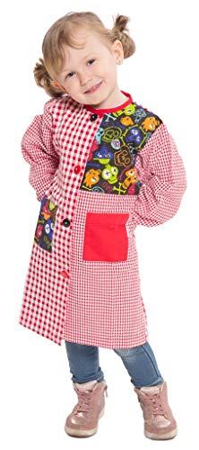 Ardeco's - Baby o bata colegio con botones estampado calavera roja (4)