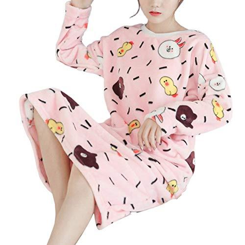 HUANSUN 2020 Vestido de Noche de Franela de Invierno para Mujer, camisón de Talla Grande, camisón cálido Suelto con Estampado Bonito, camisón de Manga Larga para el hogar, Color 5, XL