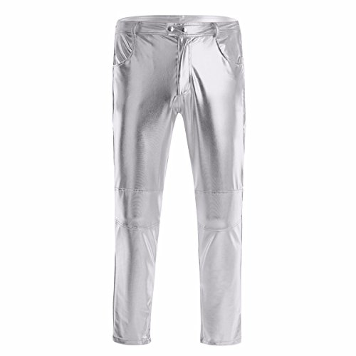 YiZYiF Glänzende Herren Slim Fit Soft PU Faux Leder Biker Hose Trachtenlederhose Trachtenlederhose Lederhosen Silber X-Large