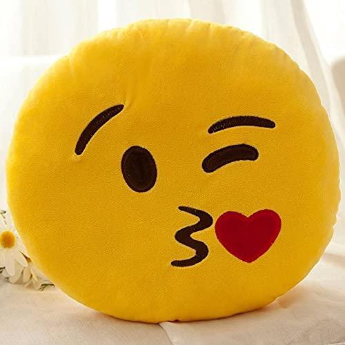 Sofá Almohada cojín Paquete de emoticonos Almohada de muñeca de Peluche, Amarillo Smiley durmiendo Lindo Ragdoll, decoración Regalo de cumpleaños Beso Beso 40 cm