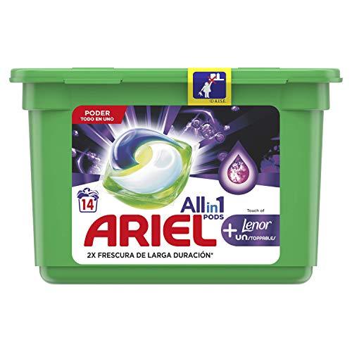 Ariel Todo en Uno Pods con Lenor Unstoppables Detergente en Cápsulas Pods, Lavados, Perfecto para Lavar a Baja Temperatura, Perfume Duradero, Multi, 14 Unidades