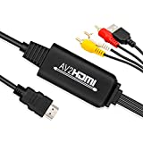 AV to HDMI Converter Cable - UBISHENG AV to HDMI Adapter, Mini AV 3RCA CVBS Composite to Audio Video Converter Supporting PAL NTSC 1080P for WII, WII U, PC Laptop, Xbox, PS3, PS4, TV STB,VCR Camera DV