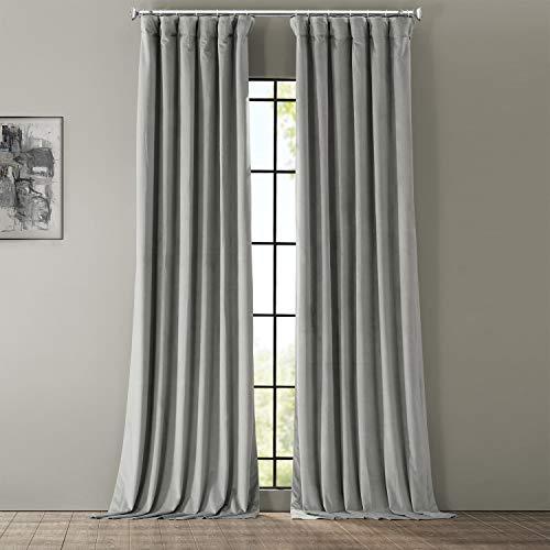 HPD Half Price Drapes VPCH-145002-96 Signature Blackout Velvet Curtain (1 Panel), 50 X 96, Silver Grey