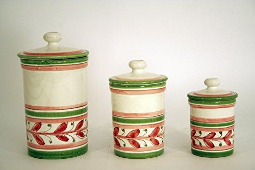 Set 3 barattoli in ceramica di Caltagirone