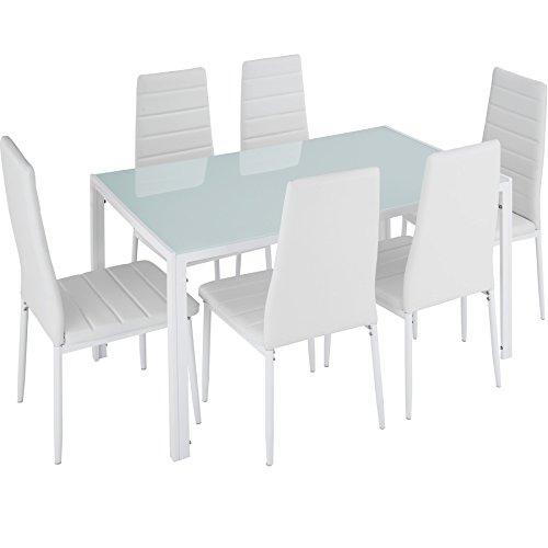 TecTake 800551 Juego de Muebles, Set de 6X Sillas & Mesa, Conjunto Mobiliario, Cocina Comedor Salón, Cuero Sintético PVC, Nuevo (Blanco)