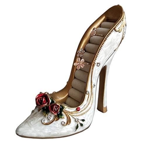 Körbe Behälter Aufbewahrungsboxen Jewelry Box Hochzeit High Heel-Ausstellungsstand Halskette Armband Debris Lagerung Vintage Rose Ring Aufbewahrungsbox Geschenk (Color : Weiß, Size : 14 * 6 * 13cm)