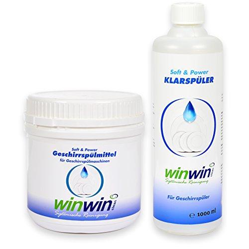 winwin clean Systemische Reinigung winwinCLEAN Set: Maschinen-GESCHIRRSPÜLMITTEL 500g + KLARSPÜLER 1000ml