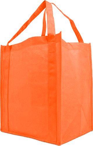Einkaufstasche mit verstärktem Griff, wiederverwendbar, groß, 10 Stück Orange