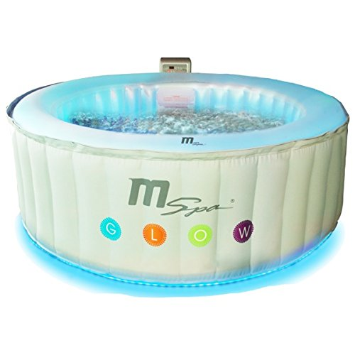 MSPA Latest Glow Indoor/Outdoor Round Inflatable Jacuzzi Hot Tub Spa, 4 Person with LED Lights