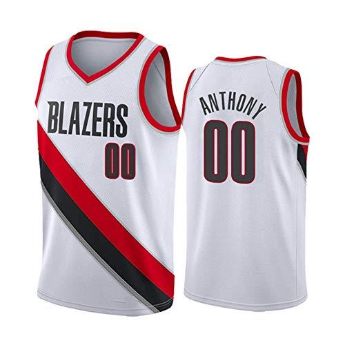 NBA Portland Trail Blazers #0 Anthony Edición Conmemorativa Camiseta de fútbol duradera transpirable juvenil de secado rápido uniforme deportivo, color blanco, L