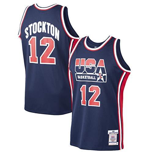 XXJJ John Stocktn - Camiseta de baloncesto retro # 12, USA 1992 Dream Team Authentic Jersey, colección Fan & mejor regalo para hombres, azul