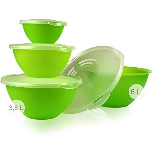 Hausfelder Salatschüssel Set groß - Schüssel und Deckel Set aus Kunststoff BPA-frei, grüne Schüsseln mit transparenten Deckeln (8-teilig)