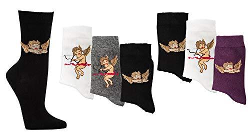 TippTexx 24 6 Paar Damensocken sortiert, Damensöckchen mit vielen modischen Motiven & zusätzlicher Garantie (a2) (Engel, 35/38)