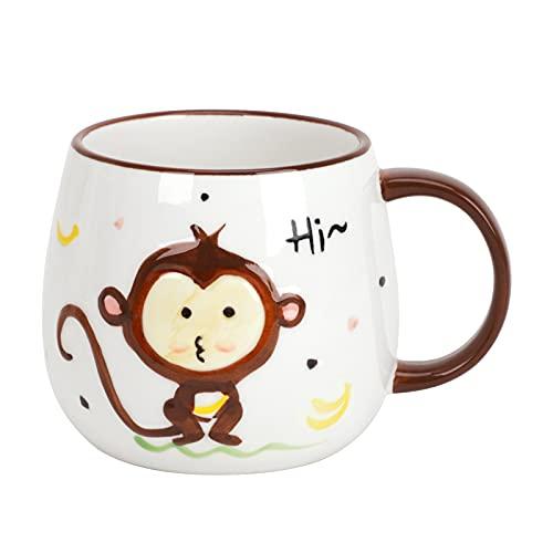 Kinder Kaffeetasse Teetasse Becher Geschirr Affe Keramik Tasse 400ml, Tier Keramikbecher Kaffeebecher Porzellan Cappuccino Tasse Coffee Milk Tea Mug
