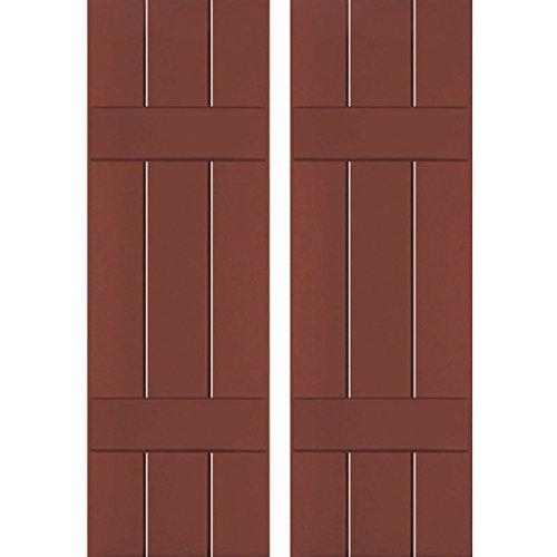 "Exterior Three Board Real Wood Pine Board-n-Batten Shutters (Per Pair), 12"" x 75"", Country Redwood - Ekena Millwork RWB12X075RWP"