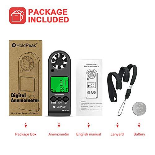 Holdpeak 816B Anemómetro Digital de Mano, Medidor de Velocidad del Viento...