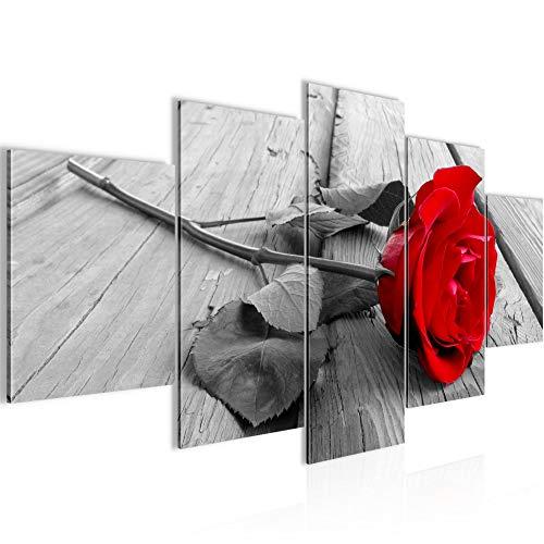 Runa Art - Cuadro Flores Rosas 200 x 100 cm 5 Piezas XXL Decoracion de Pared Diseño Rojo Gris 204451a