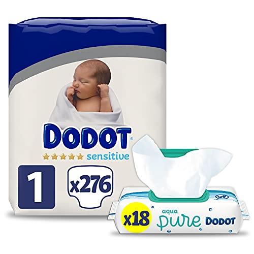 Dodot Pañales Bebé Sensitive Talla 1 (2-5 kg), 276 Pañales + Toallitas Aqua Pure, 18 Paquetes (18x48), Máxima Protección de la Piel de Dodot