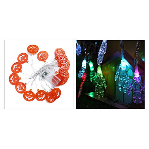 LLLucky Ghost Mano Calabaza Halloween LED Cadena de Luces con Pilas Decoración de Fiesta