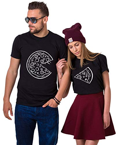 Pärchen T-Shirts Set Shirts für Paar Partner Look Baumwolle Liebhaber Pizza Tshirt (Schwarz1+Schwarz1, Herr-M+Dame-S)