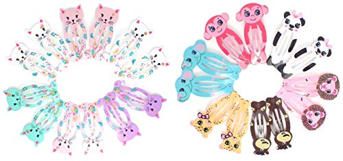 Animal Hair Clips (24 Animals), Metal Snap Hair Clips, Baby Girls Kids Toddlers