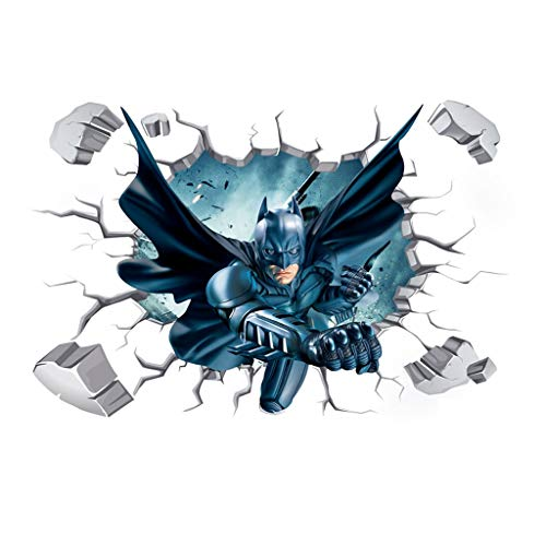 WJFQ Wandsticker Wandtattoo Batman 3D Wandaufkleber Wandtattoo Wandgemälde Superheld Dekorative Tapete 50x70cm Abnehmbare Kinder Raum Wanddekor