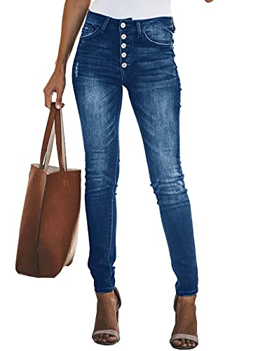 KIRUNDO Women's Skinny Jeans with Buttons Solid Color Casual Stretchy High Waisted Slim Fit Pull on Leggings with Pockets (Style1-Blue, Medium)