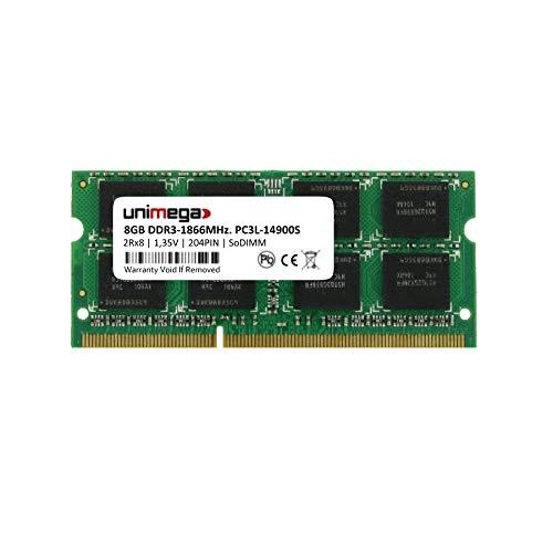 unimega - Memoria RAM DDR3-1866 PC3L-14900S de 8 GB (1 x 8 GB, 204 Pines, 1,35 V, SODIMM, 1866 MHz. para Synology DS218+ DS718+ DS918+ NAS