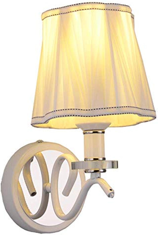Europische weie gefaltete Stoff-Schlafzimmer-Wandleuchte Elegante weie gemalte Korridor-Wandleuchte-Fernsehhintergrund Flur-Balkon-Wandlampen ●