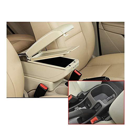 Doble Capa Coche Apoyabrazos Central Consola Función De Carga con 7 Puertos USB para Chevrolet Chevy Cruze 2009 2010 2011 2012 2013 2014 (Color : Beige)