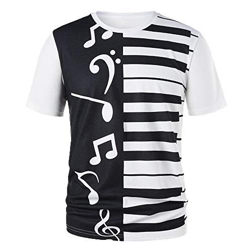 VECDY Casual Hombres Mujeres Pareja Teclas De Piano Notas Musicales Imprimir Camiseta Imprimir Camiseta Tops Blusa Regalo del Dia San Valentin