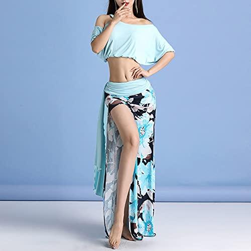 NINAINAI Traje De Baile Disfraz de Danza del Vientre Conjunto de Disfraz de Rendimiento de práctica de práctica Dividida Femenina Apto para Principiantes (Color : Multi-Colored, Size : L)